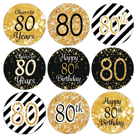 80th Birthday Party Favor Stickers | 216 Labels | Black and Gold Decoration Supplies
