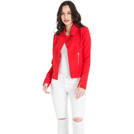 Miss Halladay Women's Red Asymmetric Zip Front Blazer Jacket zip Pockets & (Cuffed Blazer)