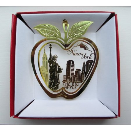 New York City Big Apple Brass Christmas Ornament Statue Of Liberty Empire State Building Souvenir Gift