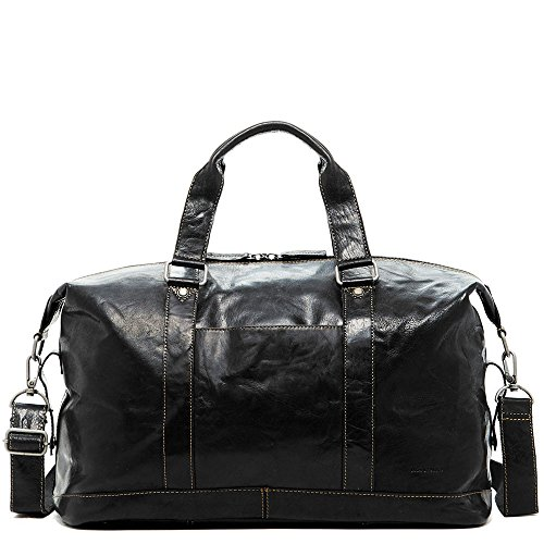 Jack Georges Voyager Leather Duffel Bag, Travel Bag in Black by Jack Georges