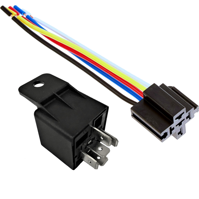 12v 30 40a spdt bosch style automotive relays \u0026 5 wire socket harness (1 pack) Black Wire Harness