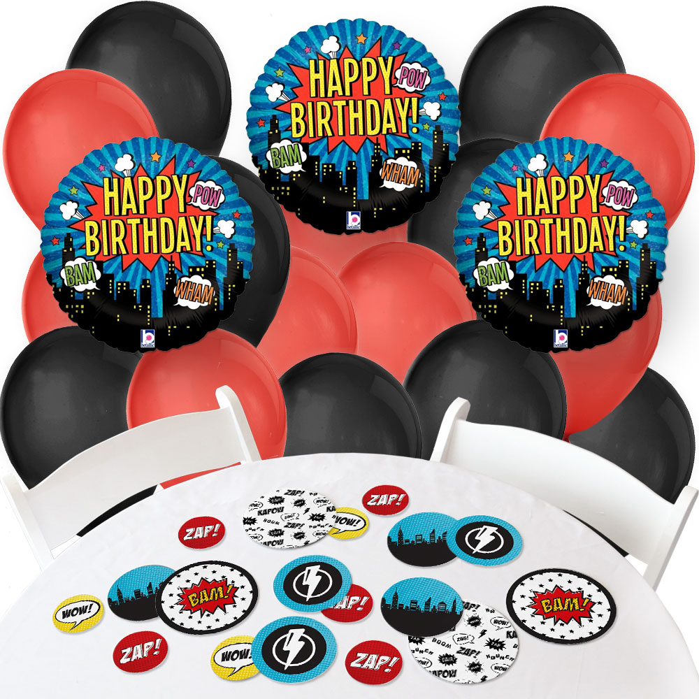 BAM! Superhero - Confetti and Balloon Baby Shower or Birthday Party Decorations - Combo Kit