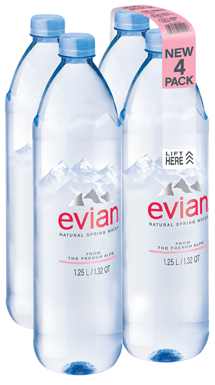 Evian Natural Spring Water, 42.2 Fl Oz, 4-Pack by Danone Waters of America