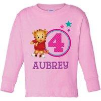 Personalized Daniel Tiger's Neighborhood Age Toddler Girl Pink Long Sleeve Tee