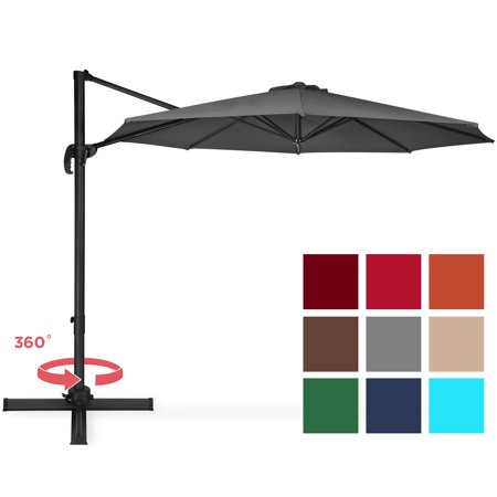 Best Choice Products 10-foot 360-Degree Rotating Aluminum Polyester Cantilever Offset Market Patio Umbrella Shade with Easy Tilt and Smooth Gliding Handle, Gray ()