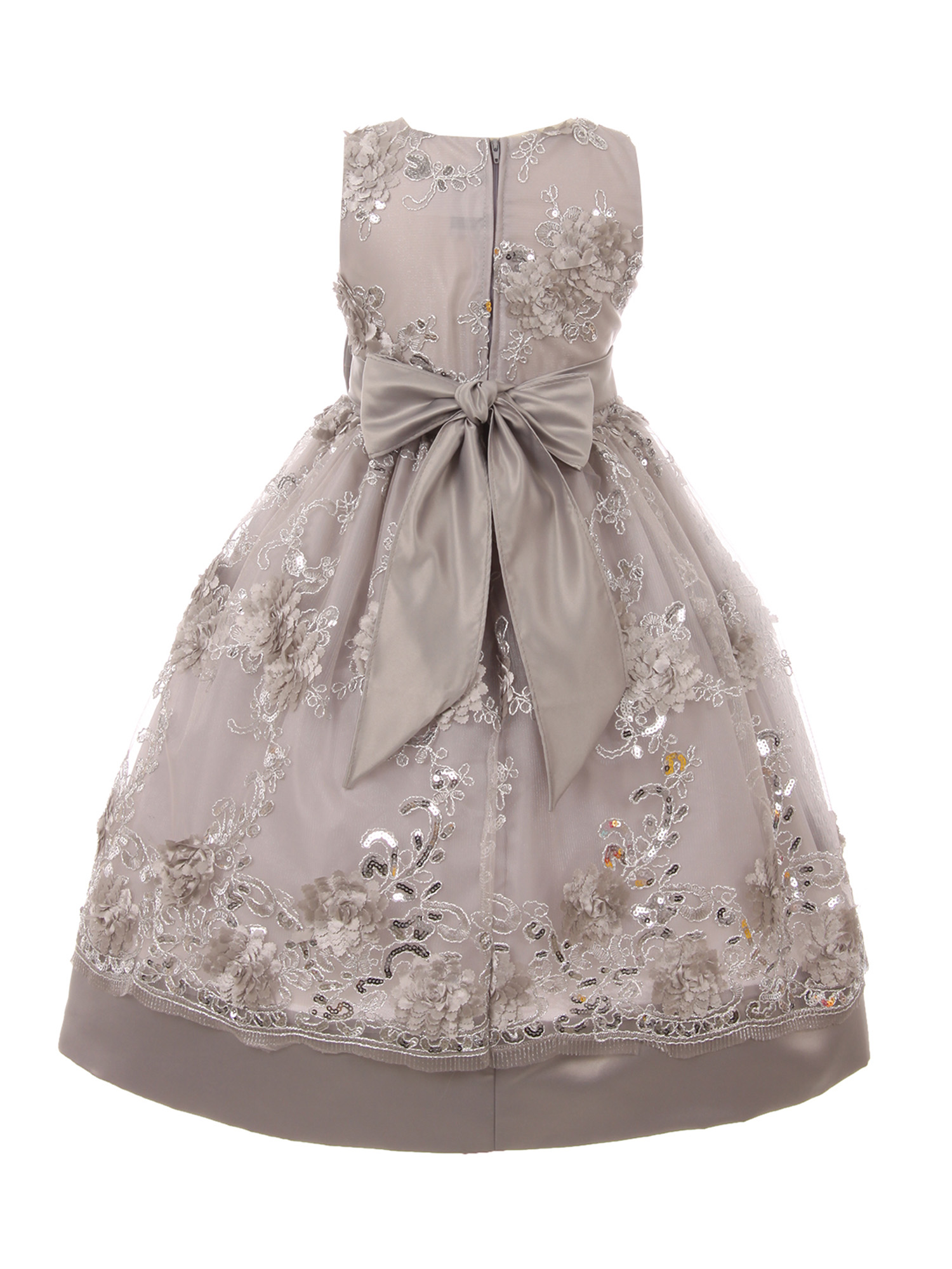 Shanil Inc. - Little Girls Silver Sparkle Sequin Embroidery Bow Accent Flower Girl Dress - Walmart.com