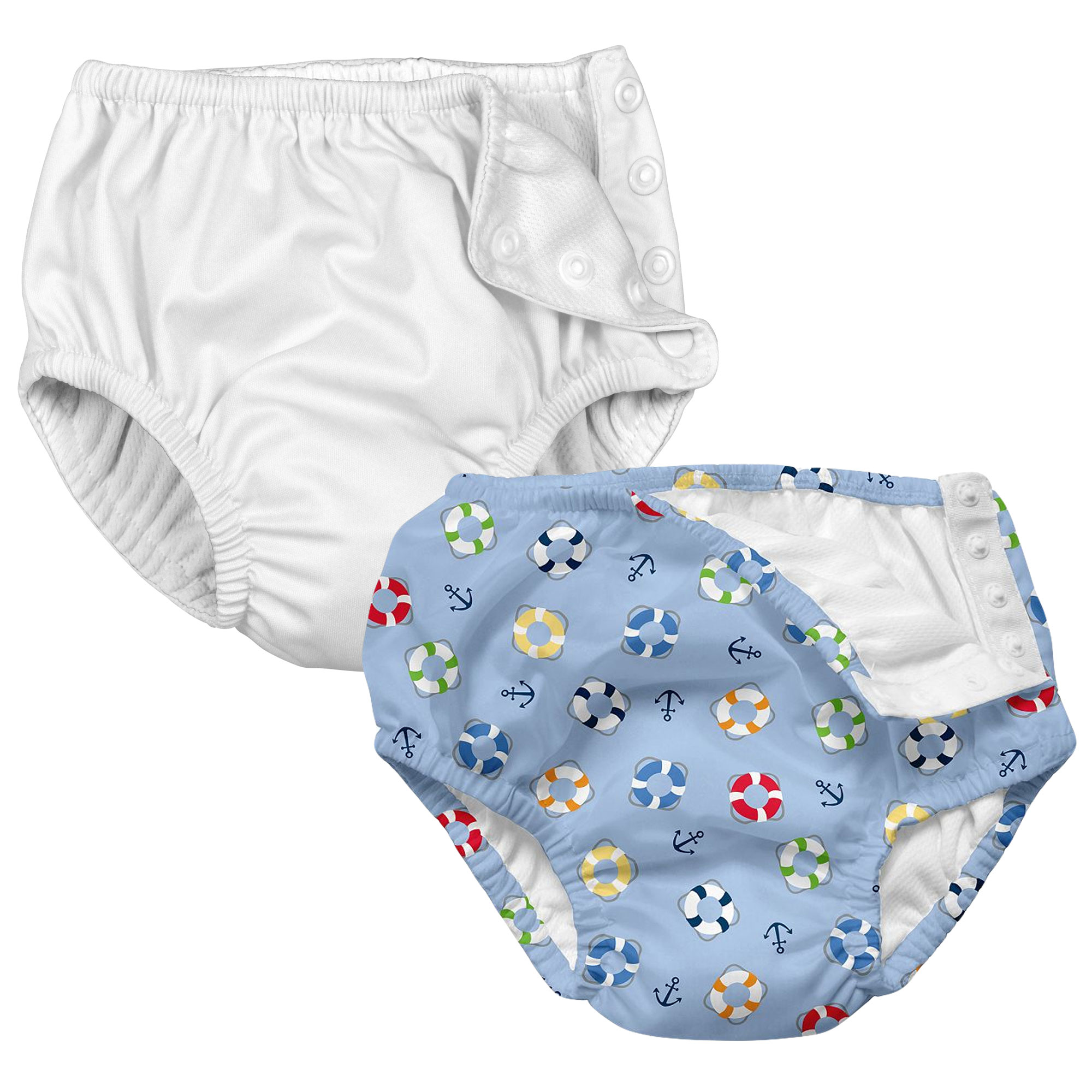 i play Baby and Toddler Snap Reusable Swim Diaper - White and Nautical Lifesaver - 2 Pack