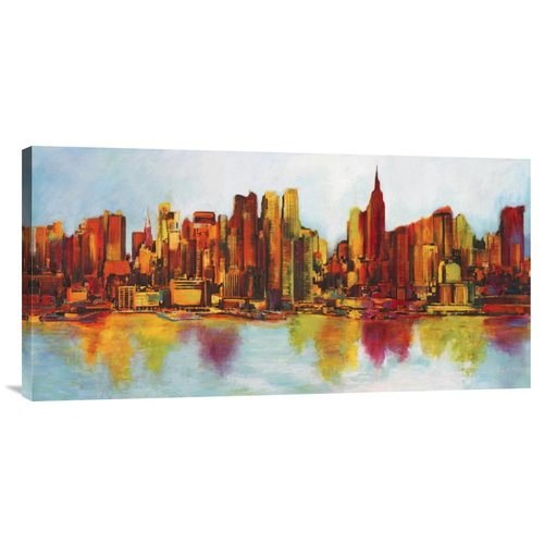 Bentley Global Arts 'New York Abskyline' by Claude Becaud Painting Print on Wrapped Canvas