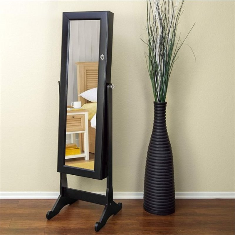 Pemberly Row Tall Standing Mirror with Jewelry Storage in ...