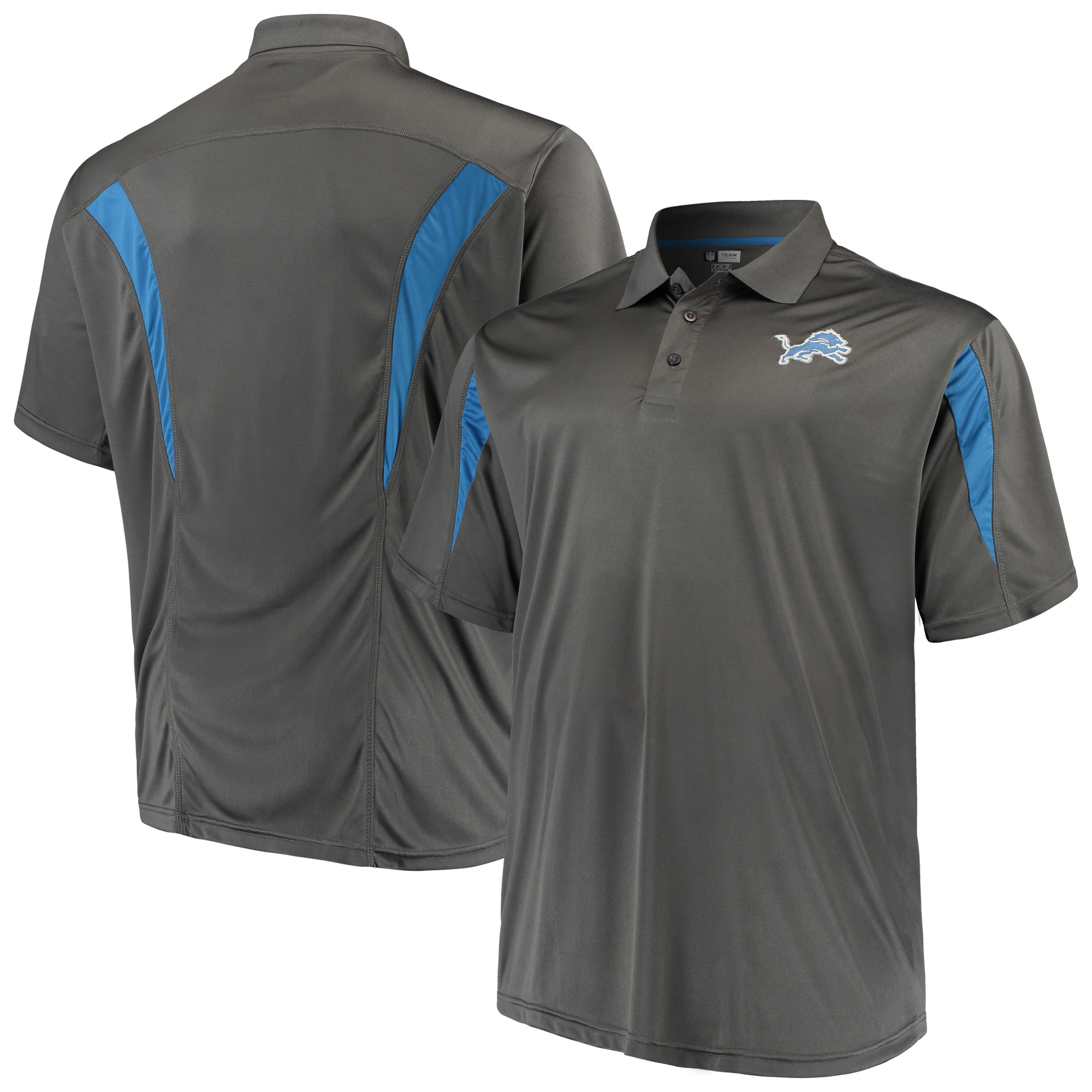 Men's Majestic Charcoal Detroit Lions Big & Tall Pieced Polo