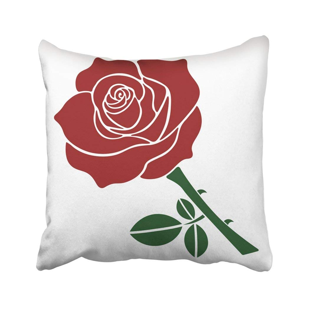 WOPOP White Beautiful Red Rose With Green Leaves Beauty Bloom Blossom Blume Embroidery Fiore Pillowcase Throw Pillow Cover Case 18x18 inches