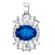 14K White Blue Sapphire & 1/3 CTW Diamond Pendant