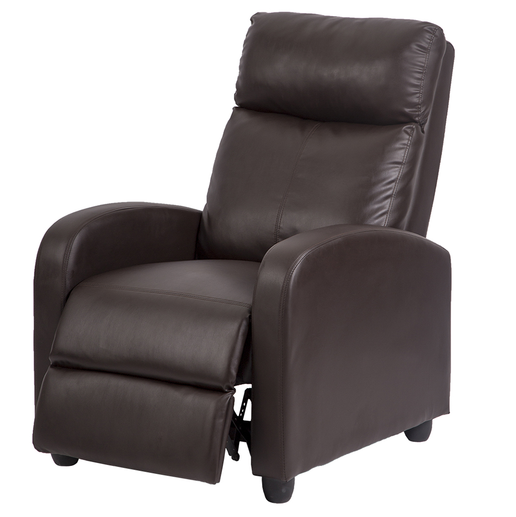 Recliner Chair Sofa Accent Single Padded Seat Black PU Leather Living Room  Recliner Modern Recliner Sofa
