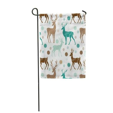KDAGR Reindeer Christmas Pattern Deers Snowflake Snow Vintage Silhouette Noel Garden Flag Decorative Flag House Banner 12x18 inch