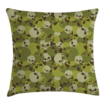 Camo Throw Pillow Cushion Cover, Militaristic Composition of Skulls Scary Head Skeletons Soldiers Grunge, Decorative Square Accent Pillow Case, 16 X 16 Inches, Green Light Green Beige, by - Soldiers Cover