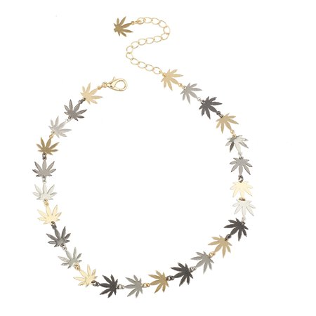 Lux Accessories Tri Tone Marijuana Weed Leaf Hippie Choker Necklace