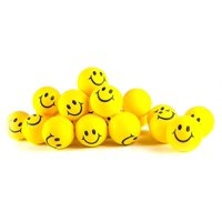 """Why Worry? Be Happy! Neon Yellow Smile Funny Face Stress Balls - Happy Smiley Face Stress Balls Bulk Pack of 24 2"""" Stress Relief Smile Squeeze Balls - Christmas Stocking Stuffers - Fun Toys By Neliblu"""