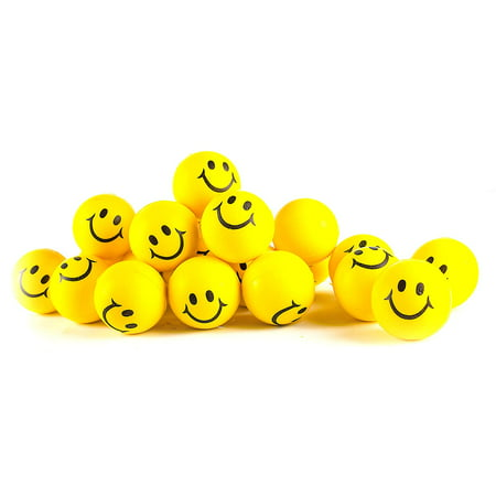 Buy Stress Balls In Bulk (Why Worry? Be Happy! Neon Yellow Smile Funny Face Stress Balls - Happy Smiley Face Stress Balls Bulk Pack of 24 2