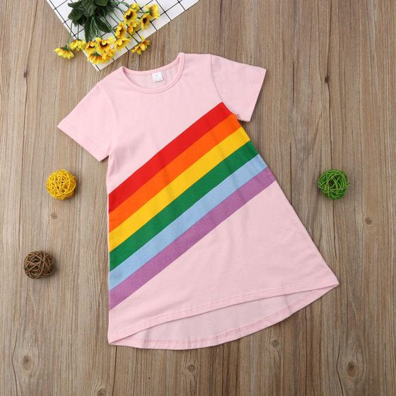 40d4915d51 Emmababy - Toddler Kids Baby Girl Cotton Short Sleeve Rainbow ...