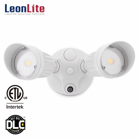 LEONLITE 20W Two-head LED Security Light, Dusk to Dawn Photocell, LED Flood Light for Yard, Garage, Porch, Entryways, Porch, 5000K Daylight, White (Led Parking Garage Light)