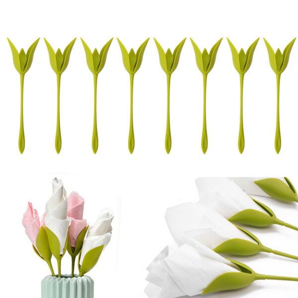 12PCS Bloom Napkin Holders Table Green Twist Flower Buds Home Serviette Holder