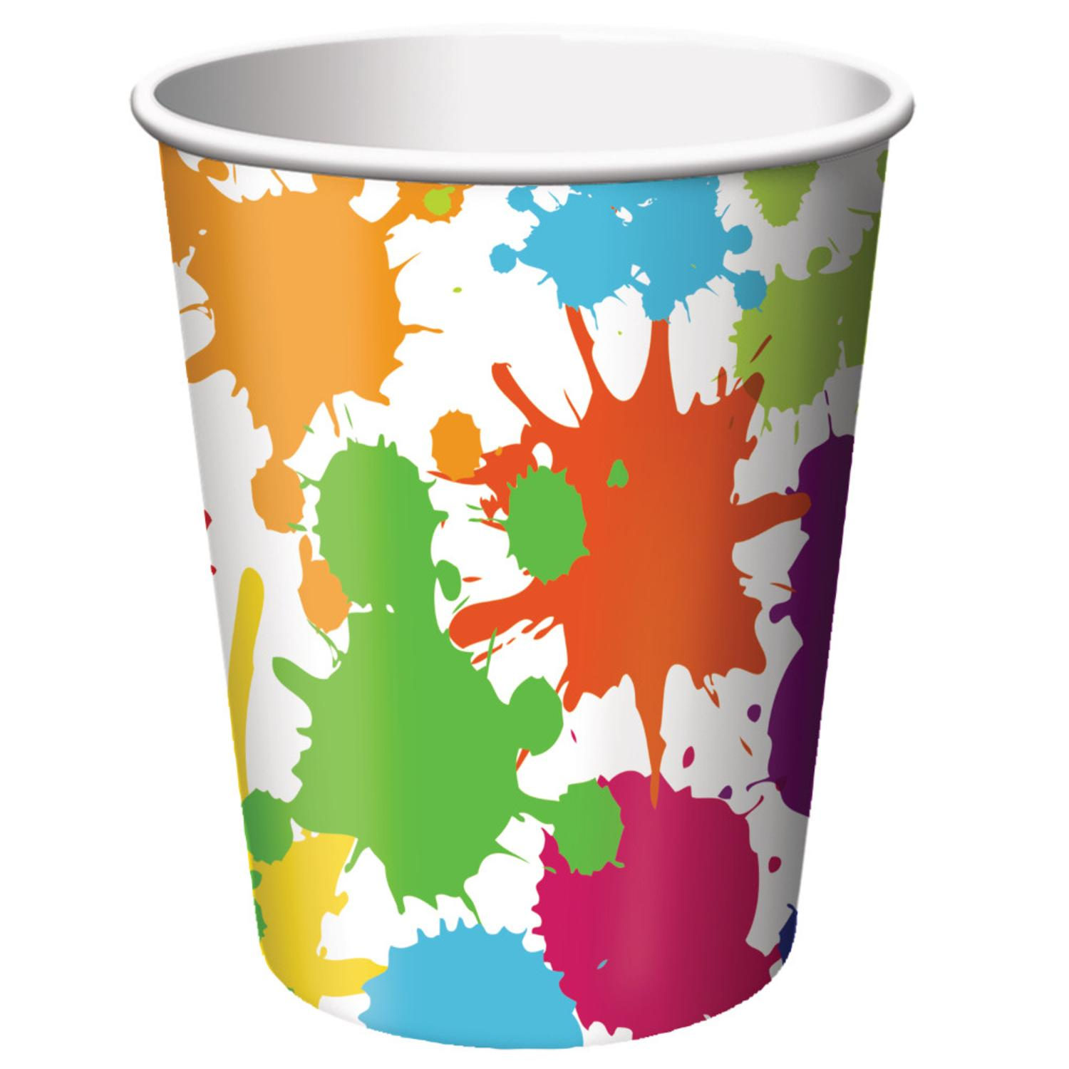 Club Pack of 96 Art Party Disposable Paper Hot and Cold Drinking Party Cups 9oz.