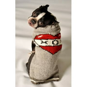 Chilly Dog Tattooed Mom Dog Sweater - Gray / Red