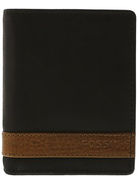 Fossil Men's Quinn Trifold Leather Wallet - Black