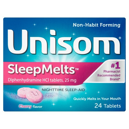 Unisom SleepMelts Cherry Flavor Diphenhydramine HCI Tablets 24ct Chewable Cherry 30 Tabs