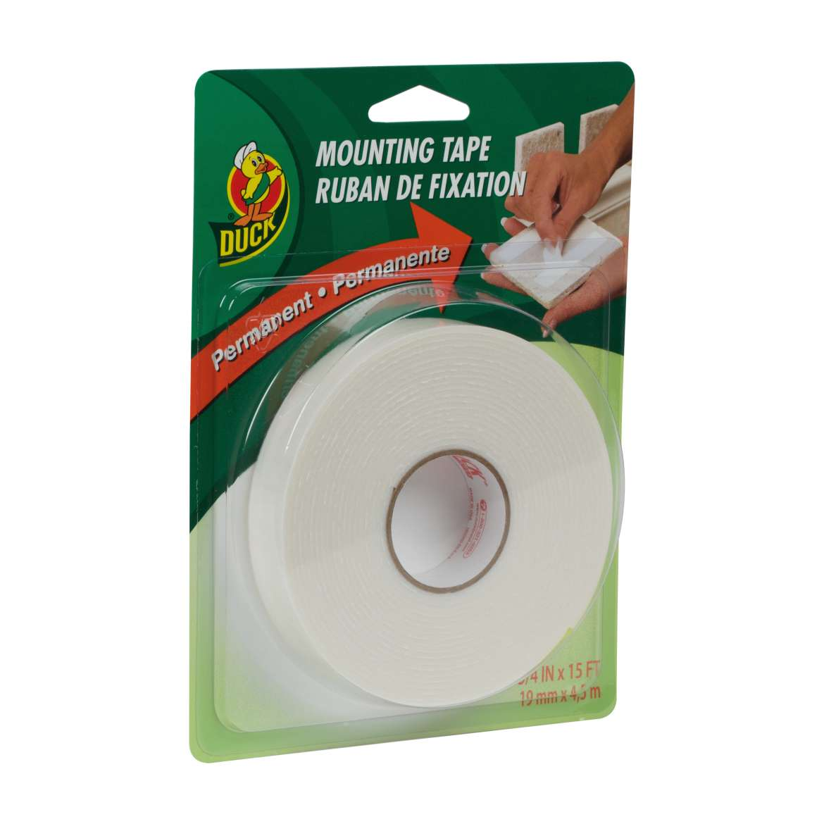 Duck Brand Permanent Mounting Tape - White, .75 in. x 15 ft.