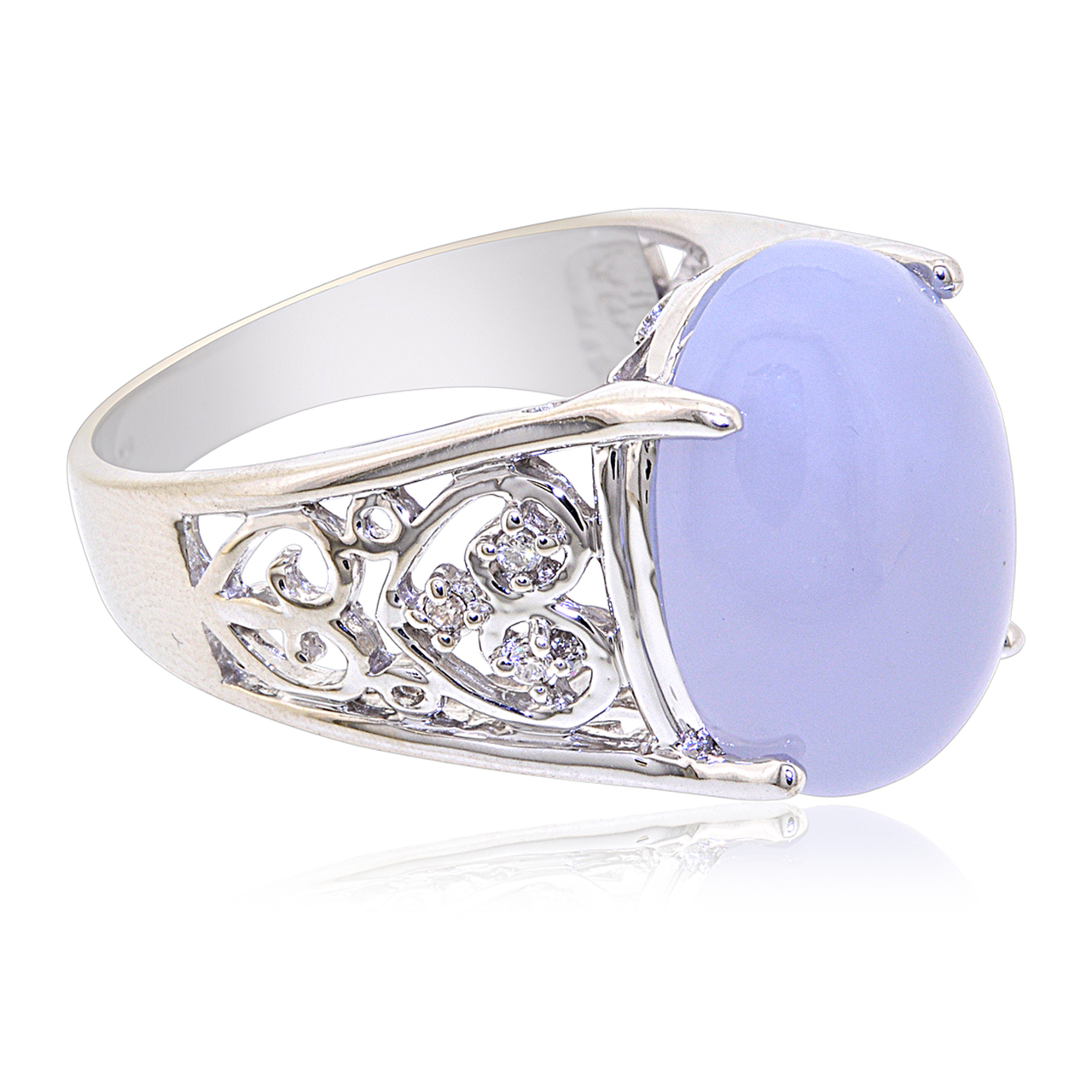 14K White Gold Oval Chalcedony and Diamond Ring by