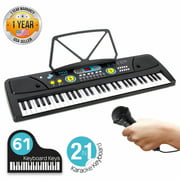 PYLE PKBRD6111 - Digital Musical Karaoke Keyboard - Portable Electronic Piano Keyboard with Built-in Rechargeable Battery & Wired Microphone (61 Keys)