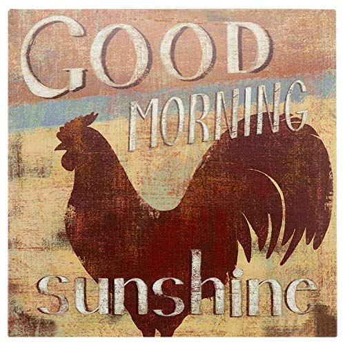 New Country Farmhouse ROOSTER MORNING GRAIN ADVERTISING SIGN Tin Dome Wall Decor