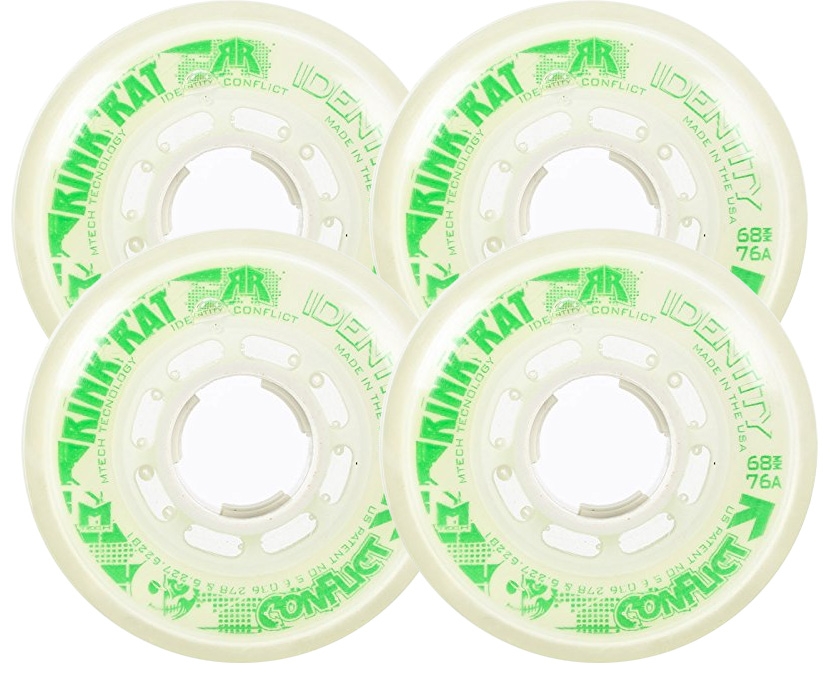 RINK RAT Wheels 72mm 76a IDENTITY CONFLICT 4-Pack White Green Inline Indoor Hockey by Rink Rat