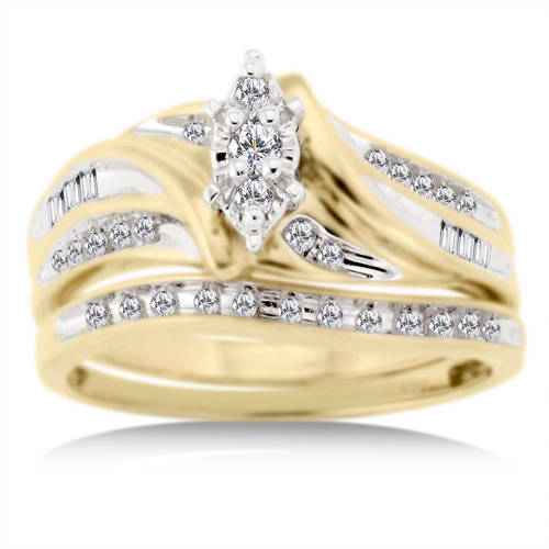 1 3 Carat Diamond T W Bridal Set in 10kt Yellow Gold Walmart