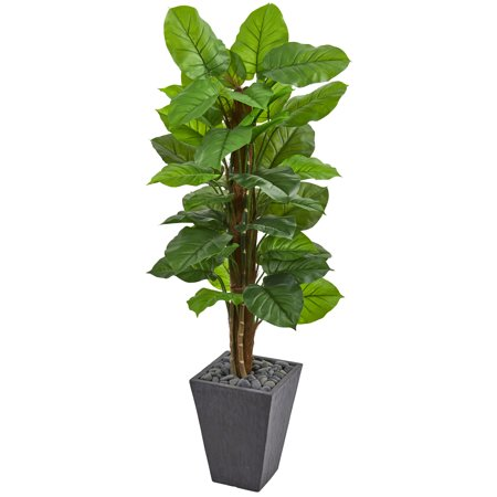 Nearly Natural 5 ft. Large Leaf Philodendron Artificial Plant in Slate Planter (Real Touch)