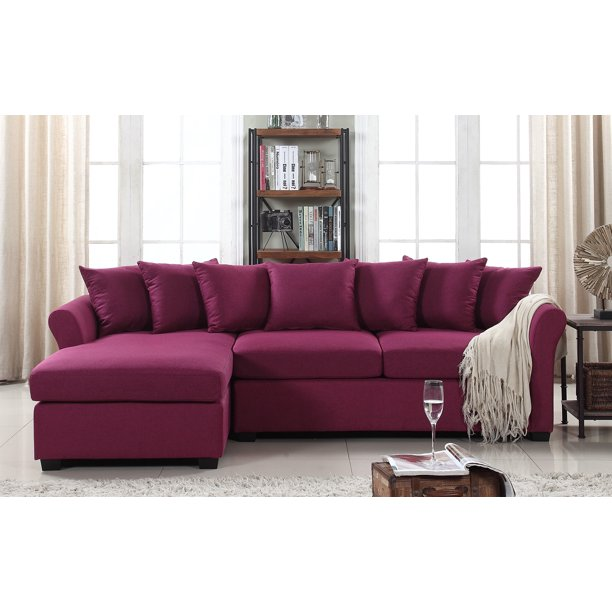 Mobilis Large Linen Fabric L Shape, Large Linen Fabric Sectional Sofa With Left Facing Chaise Lounge