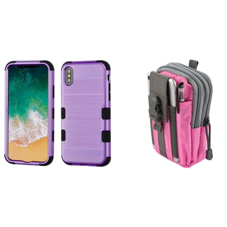 TUFF Hybrid (Military Grade Certified) Brushed Finish Phone Protector Cover Case (Purple) with Pink Gray Tactical EDC MOLLE Belt Bag Pouch and Atom Cloth for Apple iPhone XS (2018)/iPhone X (2017) -  Bemz Depot
