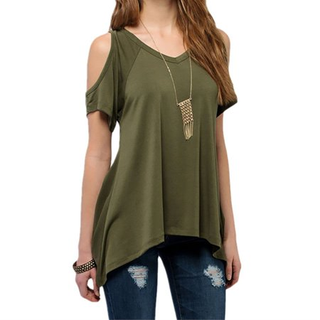 Women s solid color cold shoulder plus size t shirt with for 17 33 shirt size