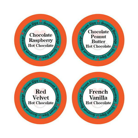 Hot Chocolate Variety Pack - Chocolate Raspberry, French Vanilla, Red Velvet, Chocolate Peanut Butter, for Keurig K-cup
