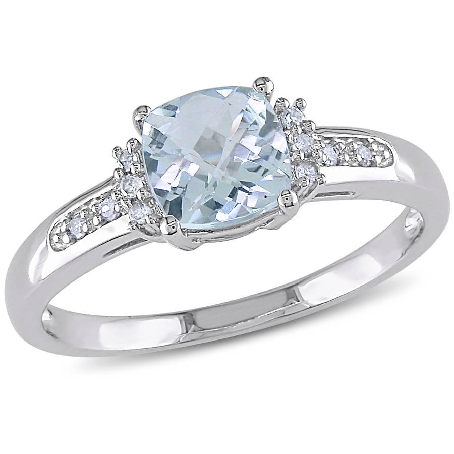 Tangelo 4/5 Carat T.G.W. Cushion-Cut Aquamarine and Diamond-Accent 10kt White Gold Fashion Ring