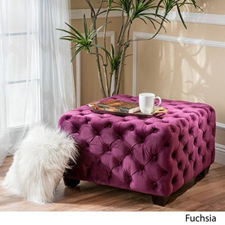 Superb Christopher Knight Home Piper Tufted Velvet Fabric Square Ottoman Bench In Fuchsia Purple Dailytribune Chair Design For Home Dailytribuneorg