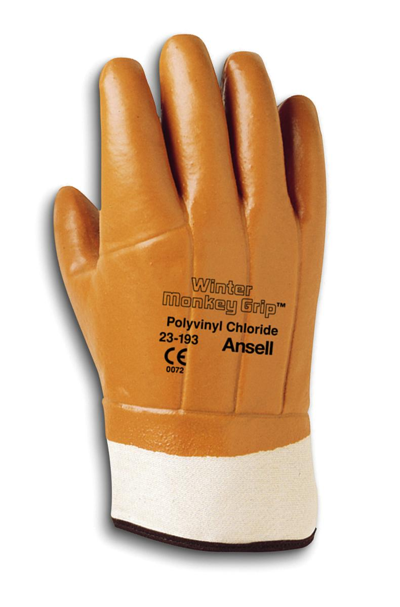 Ansell Winter Monkey Grip Vinyl-Coated Gloves, 12 Pairs by
