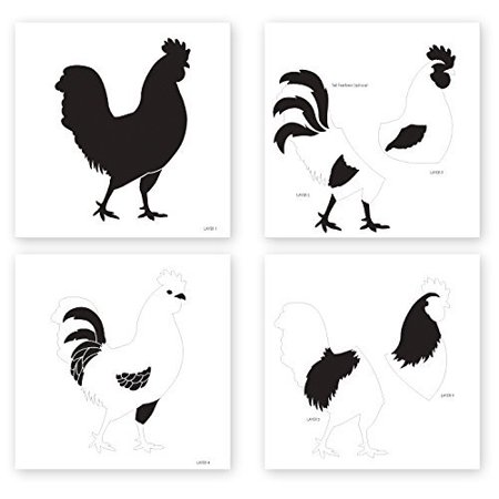Layered Rooster Stencil by StudioR12 | Country Farm Animal Art - Medium (4) 9 x 9-inch Reusable Mylar Template | Painting, Chalk, Mixed Media | Use for Crafting, DIY Home Decor - STCL778_1