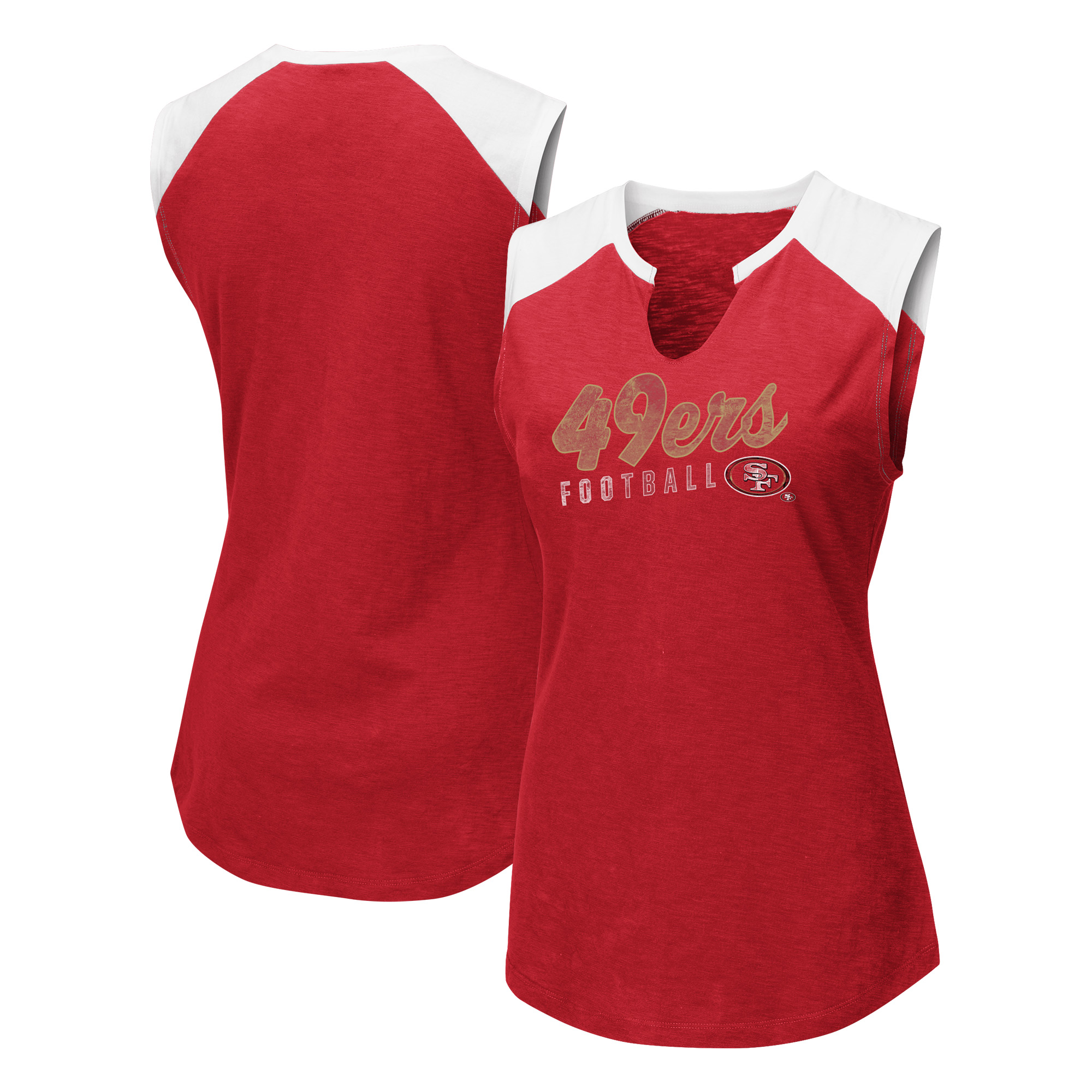 San Francisco 49ers Majestic Women's V-Notch Muscle Tank Top - Scarlet/White