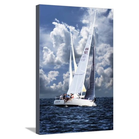 Crossing Sailboats Stretched Canvas Print Wall Art By Alan