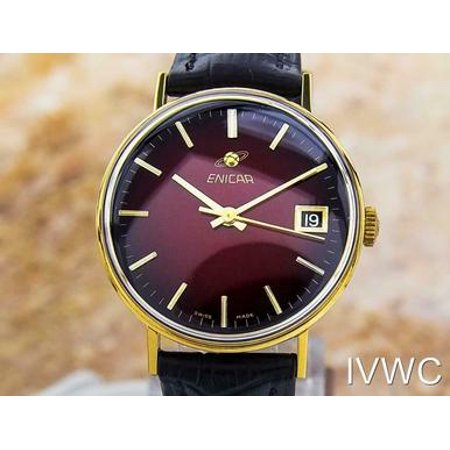 Men's Rare Enicar Manual Wind Gold Plated 1965 Retro Style Swiss Watch -