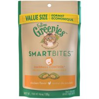 (2 pack) Greenies Feline Smartbites Hairball Control Cat Treats Chicken Flavor, 4.6 oz. Pouch