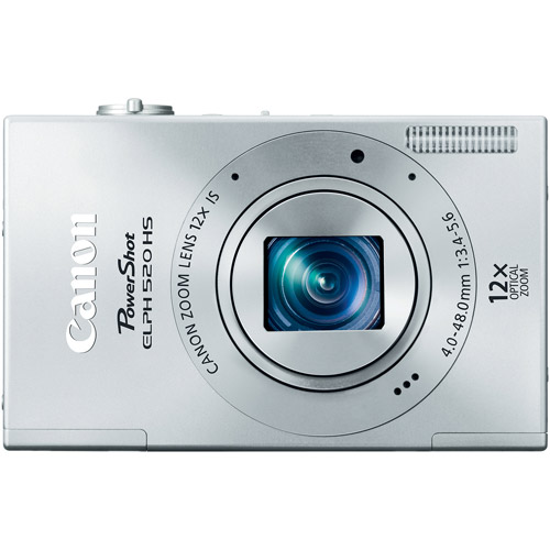 """Canon PowerShot ELPH 520 HS Silver 10.1MP Digital Camera with 12x Optical Zoom, 3.0"""" LCD, HD Movie Recording"""