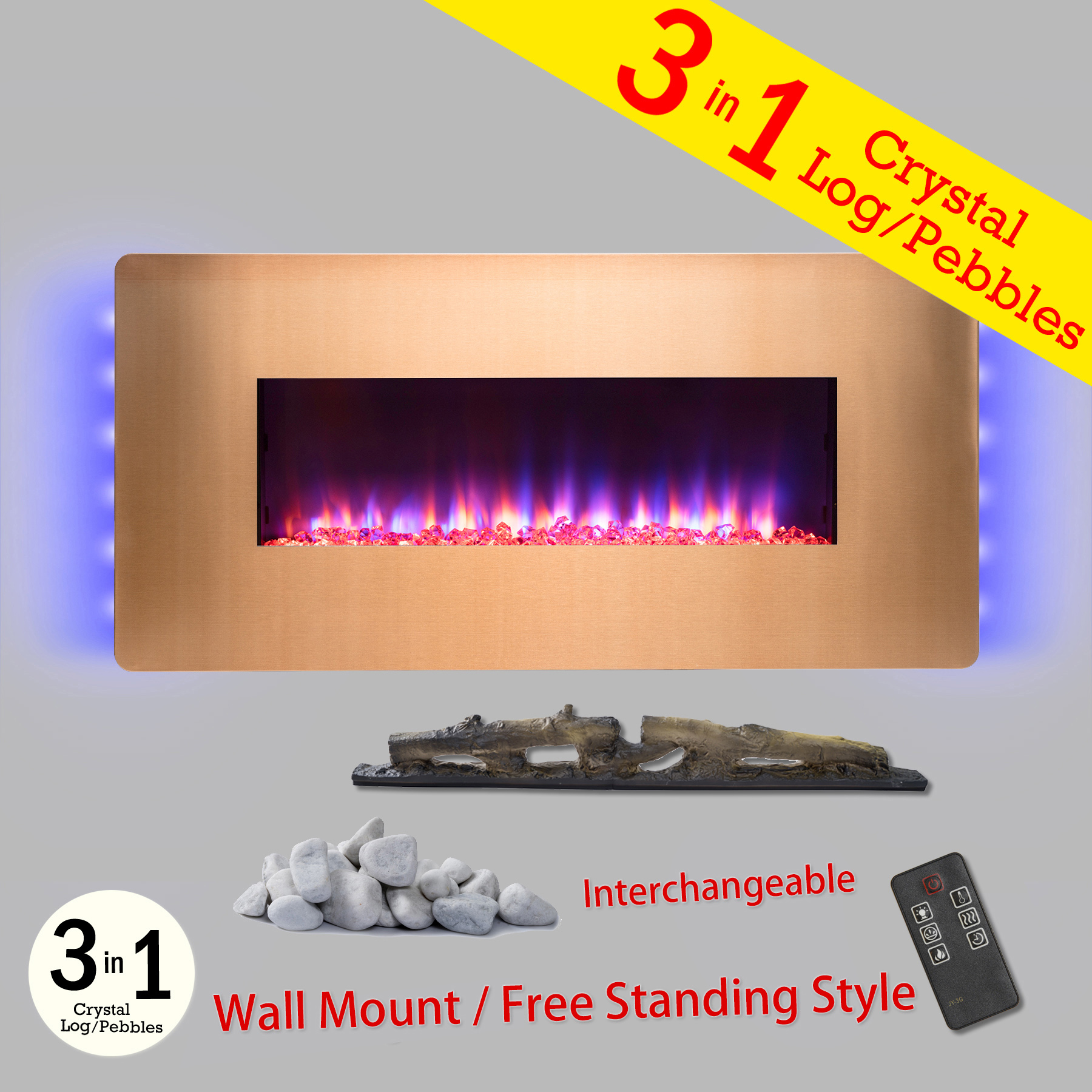 """AKDY FP0069 36"""" Gold Color finish Wall Mount Freestanding Convertible 22 Setting 3-in-1 Fuel"""